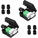 Jienk DB9 Solderless Female RS232 D-SUB Serial Adapters, 9 Pin Port Terminal Solderfree Breakout Connector Board with Case Nut(2 Pack)