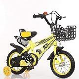 N&I Bicicleta infantil para niños y niñas con ruedas de entrenamiento de 2 tiempos BMX Freestyle Bicycles for 2-9 Years Old 12 14 16 inch Boys/Girls Bicycle with Kettle And Basket Yellow 16 Inch