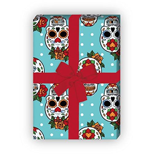 Kartenkaufrausch Jugendliches Designer Geschenkpapier Set, Dekorpapier mit mexikanischen Totenköpfen auf Pünktchen Musterpapier, Designpapier basteln, 4 Bögen, 32 x 48cm, auf hellblau