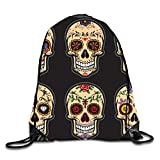 uykjuykj Coulisse Sacchetto,Zaino Coulisse Sacchetto, Happy Pugs Sackpack Drawstring Backpack Waterproof Gymsack Daypack for Men Women Skull Eyes9 Lightweight Unique 17x14 in