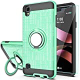 LG Tribute HD Case,LG X Style Case,LG Volt 3 Phone Cases with HD Phone Screen Protector,YmhxcY 360 Degree Rotating Ring & Bracket Dual Layer Resistant Back Cover for LG LS676-ZH Mint