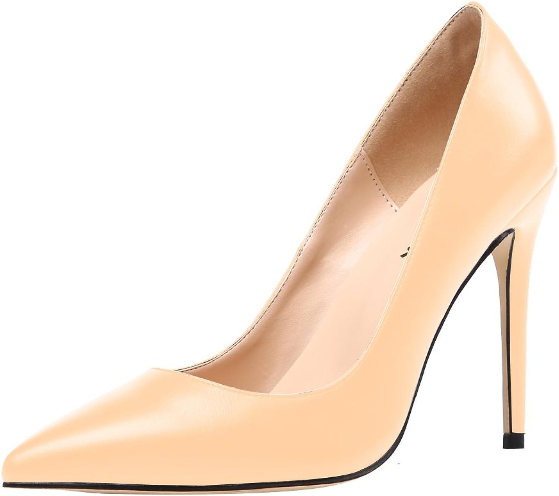 AOOAR Women's Heeled Slip On Pointy Dress Pumps shoes