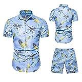 Camicetta Top Uomo Estate Tempo Libero Moda T-Shirt Hawaiana Set di Pantaloncini a Maniche Corte (XXL,8blu)