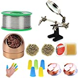 Makeronics Soldering Starter Kit for Electrical Soldering  0.14 lb/62g 0.8mm Lead Free Solder Wire Rosin Core Sn99 Ag0.3 Cu0.7  Iron Tip Cleaner with 3 Brass Ball   Helping Hands Soldering Aid