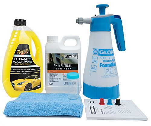 Gloria FoamMaster FM10 + ValetPro Snow Foam + Meguiars Shampoo Auswahl + Zubehör (Meguiars Ultimate Wash & Wax Shampoo 1.42 Liter)