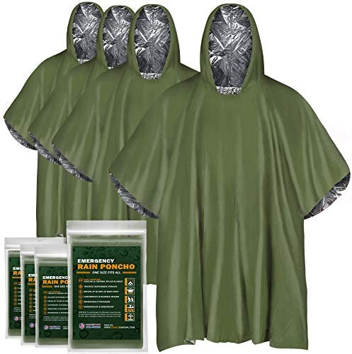 EVERLIT 4 Pack Emergency Rain Poncho Reusable Mylar Thermal Blanket Poncho All Weather Proof product image