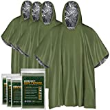 EVERLIT [4-Pack] Emergency Rain Poncho, Reusable Mylar Thermal Blanket Poncho All Weather Proof Outdoor Survival Camping Gear Retains Up To 90% of Body Heat (Green)