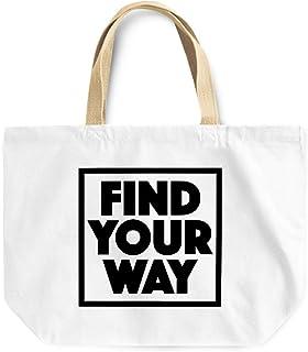 Loud Universe Find Your Way Positive Message Reusable Tote Bag, 30 x 30 x 10 cm, Multicolor