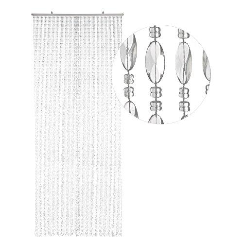 HAB & GUT -DV03461- Türvorhang TWISTER, KLAR / SEHR DICHT mit 70 Strängen, 90 x 200 cm, Perlenvorhang, Insektenschutz