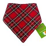 Dimples Bandana Cane - Tartan Rosso (Fatto a Mano per Cani di Tutte Le Taglie) 25 cm