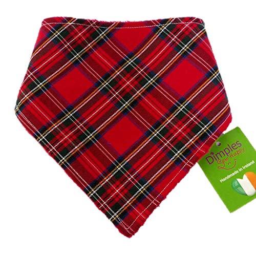 Dimples Hundehalstuch - Schottenkaro rot - Halstuch für kleine mittlere und Grosse Hunde Welpen und Katzen - Hunde Besitzer Geschenk - Handgemachtes Hunde Accessoire 25cm