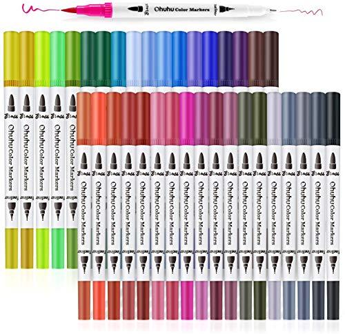 Ohuhu 36 Colori Pennarelli artistici a Doppia Punta, Pennello per colorare Tratto definito, Penne a Colori, Pennarello a Base d'Acqua, Pennarelli evidenziatori per Calligrafia, per Disegni, Schizzi