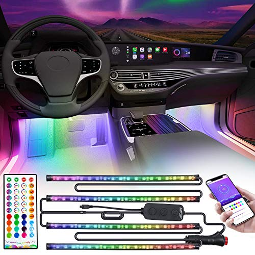 Dreamcolor Car Interior Lights with APP and IR Remote, Upgraded 2-in-1 Design 4PCS 72 LEDs Interior Car Lights, DIY Color LED Lighting Kits Sync to Music with Super Length Wires for Various Car
