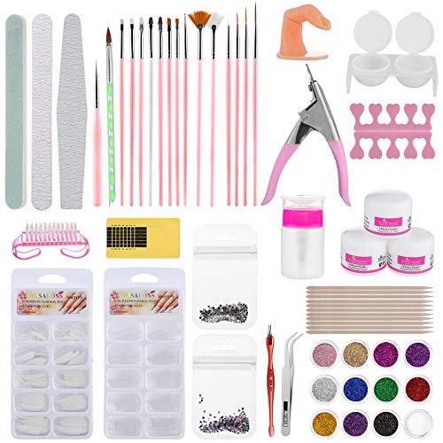 Kit Uñas de Gel Kit Completo, ZWOOS Kit de Uñas Acrílicas Completo Profesional, Decoración de Uñas Juego Completo de Pinceles de Gel Acrílicos para DIY Nail Art Decoración, Kit de Manicura de Moda (A)