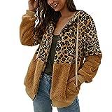 Xiangdanful Damen Plüschjacke Leopard Print Winterjacke Teddy-Fleece Jacke Dicke Warme Cardigan Wolle Mantel Outwear Coat Parka Patchwork Hoodie Trenchcoat Vorne Offen Mantel (M, Khaki)