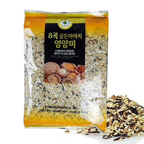 ROM AMERICA 8 Mixed Grains with Flax Seeds Sweet Brown Rice Whole Barley [4 Pounds] 8곡 아마씨 영양미 잡곡