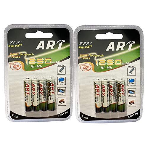 Lote de 8 pilas AAA LR03 1,2 V NI-MH recargables de 1250 mAh | Sustituye las pilas AAA 1,5 V | AAA LR03 LR3 R03 R3 H03 H3 3A...