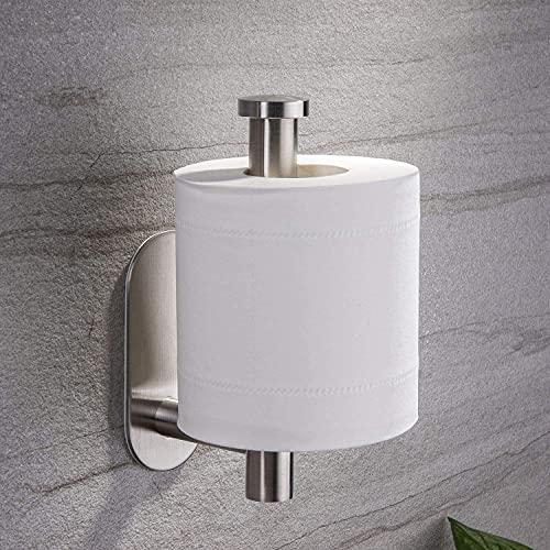 Toilet Tissue Holder, Stainless Steel Paper Wall Mount, 2021 Upgrade Silver Bathroom Roll Dispenser, Adhesive Toilet Paper Roll Holder for Bathroom, Kitchen
