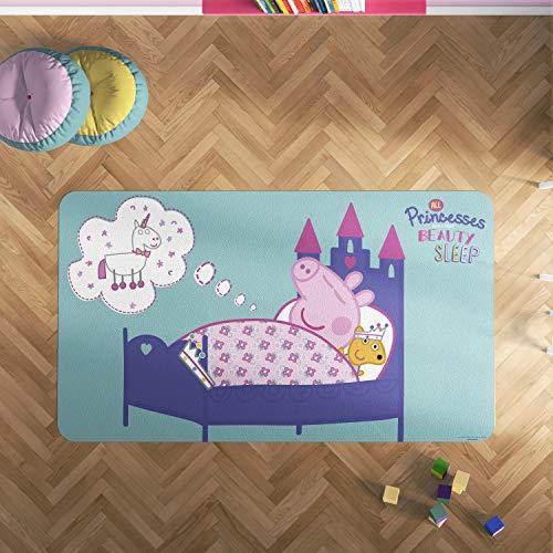 Oedim Alfombra PVC Peppa Pig Cama de Princesa   165 x 95 cm   Producto Oficial y Original   Suelo vinílico   Decoración del Hogar   Peppa Pig  