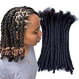 YONNA Human Hair Microlocks Sisterlocks Dreadlocks Extensions 60Locs Full Handmade (Width 0.4cm) 10inch Natual Black #1B