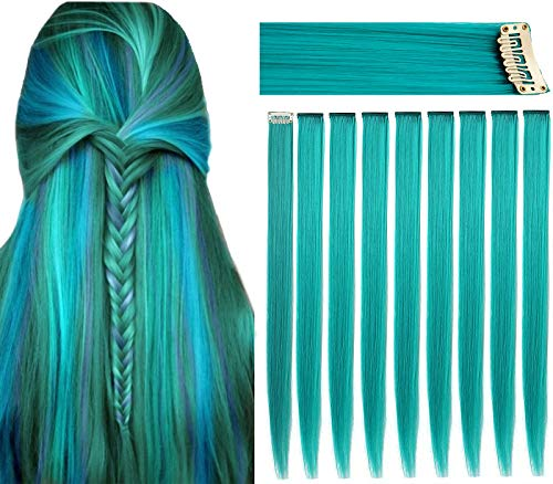 FAIRY COLOR 9PCS Teal Haripieces Extensiones de cabello de colores Clip en / en niñas y muñecas Peluca Piezas Niños Color Accesorios para el cabello