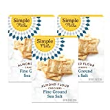 Simple Mills Almond Flour Crackers, Fine Ground Sea Salt, Gluten Free, Flax Seed, Sunflower Seeds, Corn Free, Good for Snacks, Made with whole foods, 3 Count (Packaging May Vary)
