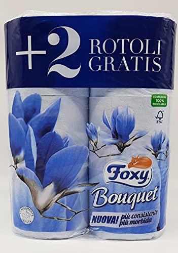 FOXY Carta Igienica BOUQUET 2 veli 4+2 rotoli AZZURRA - CARTONE DA 6 CONFEZIONI DA 6 ROTOLI = TOTALE...