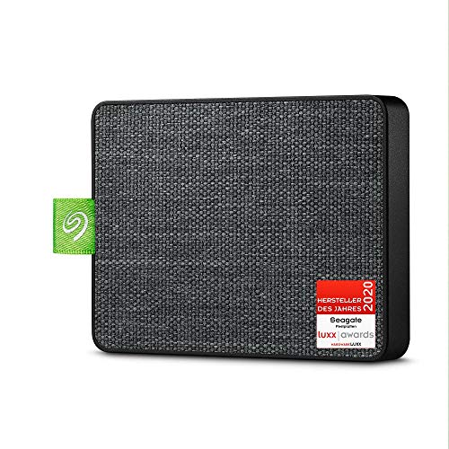 Seagate Ultra Touch SSD, tragbare externe SSD, 500 GB, 2.5 Zoll, USB 3.0, PC & Mac, schwarz, inkl. 3 Jahre Rescue Service, Modellnr.: STJW500401