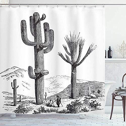 ASDAH Cactus douchegordijn Sketchy handgetekende print van woestijnplanten met Mexicaanse reiziger afbeelding doek stof badkamer Decor Set met haken houtskool grijs 66 * 72in