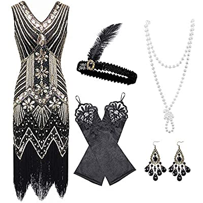 Auihiay 1920s V Neck Sequin Beaded Fringed Dress with 20s Accessories Set
