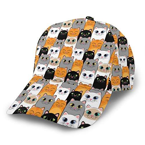 Gorra de béisbol para papá con diseño de gatos y gatos siameses de jengibre ajustable con diseño para hombres y mujeres clásico sombrero de impresión negro