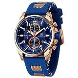 Relojes para Hombres, Mini Focus Analógico de Cuarzo Reloj Impermeable Deportivo cronógrafo Correa de Cuero Fecha para Regalo (Azul 4)