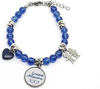 """Bracciale con perle di tormalina blu ciondolo""""Grazie Maestra"""" e charms"""