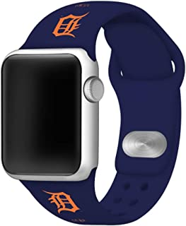 GAME TIME Detroit Tigers Silicone Sport Band Compatible with Apple Watch 42mm/44mm Navy Blue