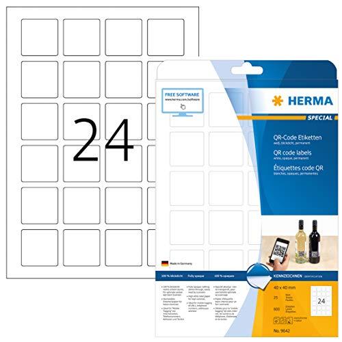HERMA Etichette Universali, 40 x 40 mm, Etichette Adesive A4 per Stampante, 24 Etichette per Foglio,...