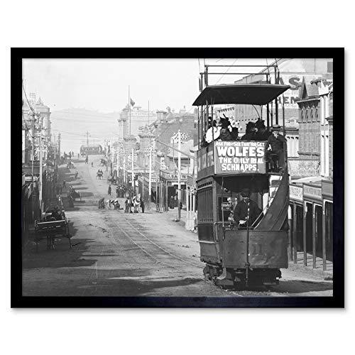 Looking Down Melville Street Hobart Tasmania 1920 Photo Art Print Framed Poster Wall Decor 12x16 Inch Calle Fotografía Póster Pared