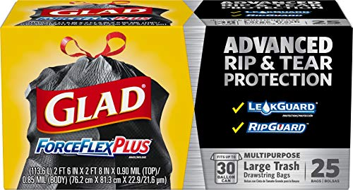 50-Count 30-Gallon Glad ForceFlexPlus Drawstring Trash Bags  $10 at Amazon
