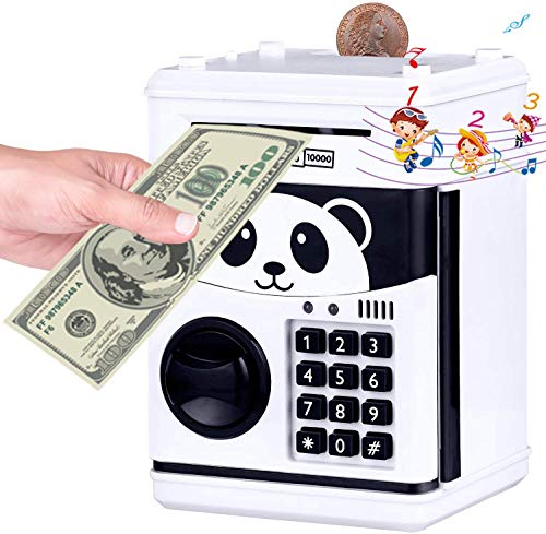 Money Bank,Musical ATM Savings Piggy Bank Machine with Code Lock for Kids,Mini Electronic Panada Coin Box with Voice Prompt and Password Login for Children