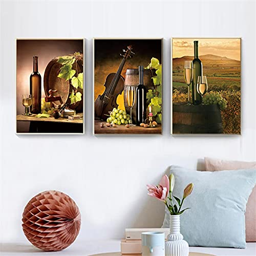 Cartel de vino Uva Arte de la pared Pintura Impresión en lienzo Cocina Comedor Decoración Imágenes para sala de estar Decoración moderna 20x35cm (8x14in) x3pcs Sin marco