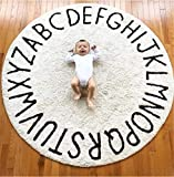 FasterS ABC Baby Rug for Nursery Kids Round Educational Alphabet Warm Soft Large Activity Mat Floor Area Rugs Cotton Non-Slip for Children Toddlers Bedroom 59inch (Off White)