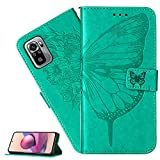 LEMAXELERS Custodia Huawei P Smart 2020 Cover Portafoglio,Huawei P Smart 2020 Custodia Fiore di Farfalla in Rilievo Wallet Shock-Absorption Magnetica Supporto Leather Flip Cover,YB Die Green