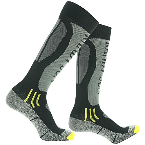 RANDY SUN Waterproof Hiking Socks, [SGS Certified] Men's Fashion Climbing Windproof Business Socks Grey&Black