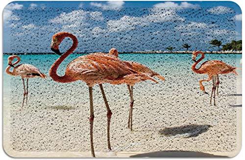 Flamencos Rojos en la Playa Felpudo de PVC Alfombras con Respaldo de Goma Alfombras de Piso Alfombra Antideslizante para Puerta de Entrada Interior Exterior temática Tropical