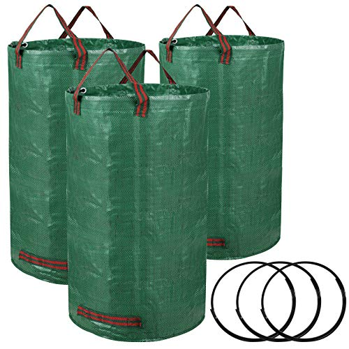 iPower LGWBAG32X3 3-Pack 32-Gallon Reusable Garden Waste Bags for Patio, Yard, Trash Can, Laundry Container