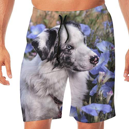 Australian Shepherd Dog Flower boardshorts van kant, elastisch, sneldrogend, badpak, met zakken