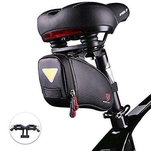 camgo Bike Wedge Saddle Bag, Mountain Road Bike Seat Pack Bag Cycling Bicycle Bag Repair Tools Pocket Riding Cycling Supplies (Black)