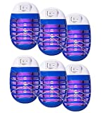 6 Pcs Bug Zapper Electric Fly Control Pest Trap Indoor Mosquito Led Light for Patio, Bedroom, Kitchen, Office Electronic Insect Killer