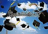 LYWYGG 7x5FT Fondo de Fotografía de Graduación Cielo Azul y Nubes Blancas Fondo Campus Estudiante Fondo Vinilo Fondo CP-251