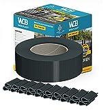 WDB Basic Line PVC Sichtschutzstreifen für Doppelstabmatten - Sichtschutz für Gartenzaun Doppelstabmattenzaun - 47,5 mm × 35 m + 20 Stück Befestigungsclips Klemmschienen Anthrazit