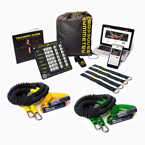 Crossover Symmetry Shoulder Health System - Includes Two Sets of Resistance Bands,Elite Squat Rack Straps,Training Guide,Exercise Chart,Online Workouts for Home Fitness,Rehab,or Rotator Cuff Exercises
